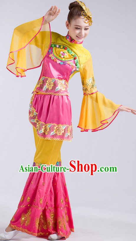 Chinese Classical Dance Costumes and Headdress Complete Set for Women Girls