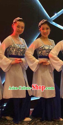 Chinese Stage Performance Classical Dance Costumes and Headdress Complete Set for Women Girls
