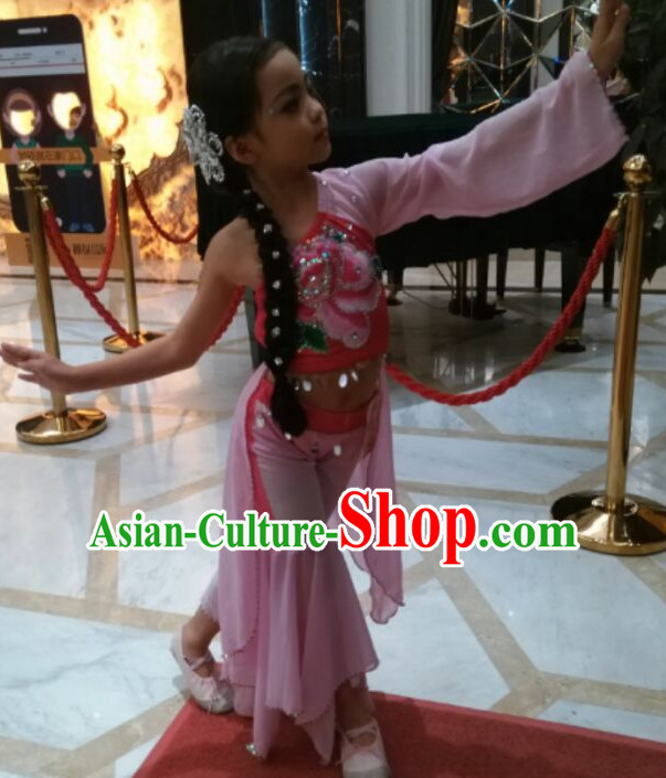 Chinese Stage Performance Classical Dancing Costumes and Headdress Complete Set for Women Girls