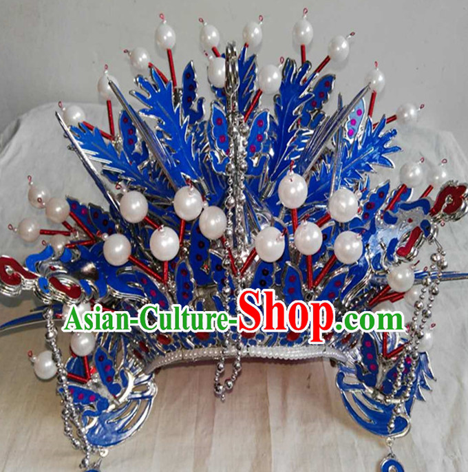 Blue Chinese Traditional Phoenix Coronet Opera Hat