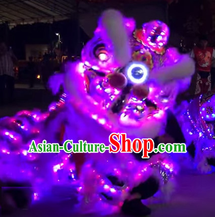 Luminous LED Lights Supreme 100_ Long Natural Wool Chinese Southern Lion Dance Equipments Complete Set