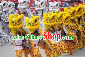 Yellow 2008 Beijing Olympic Games Opening Ceremony 100_ Natural Long Wool Lion Dance Equipments Complete Set