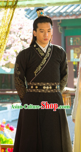 Chinese Ancient Style Male Hanfu Clothing and Coronet Complete Set