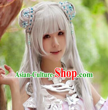 Chinese Ancient Female Style White Long Wigs
