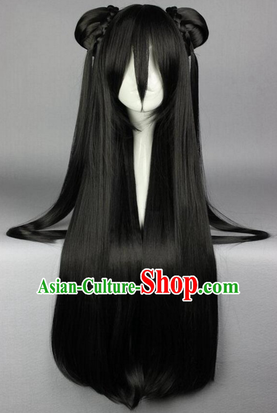 Chinese Ancient Female Style Black Long Wigs