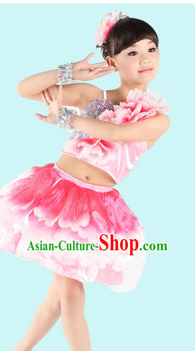 Red Chinese Peony Flower Dancing Costumes for Girls
