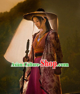 Ancient Chinese Kung Fu Lady Costumes and Hat Complete Set for Girls Women