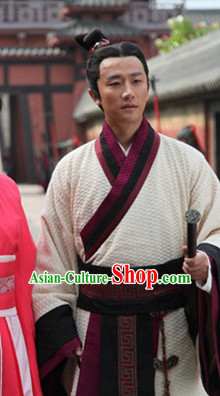 Traditional Chinese Han Dynasty Male Dress Chinese Hanfu Clothing Cloth China Attire Oriental Dresses Complete Set for Men