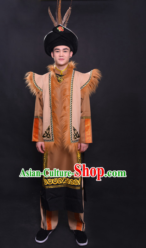 Chinese Qiang Nationality Folk Dance Ethnic Wear China Clothing Costume Ethnic Dresses Cultural Dances Costumes Complete Set for Men Boys