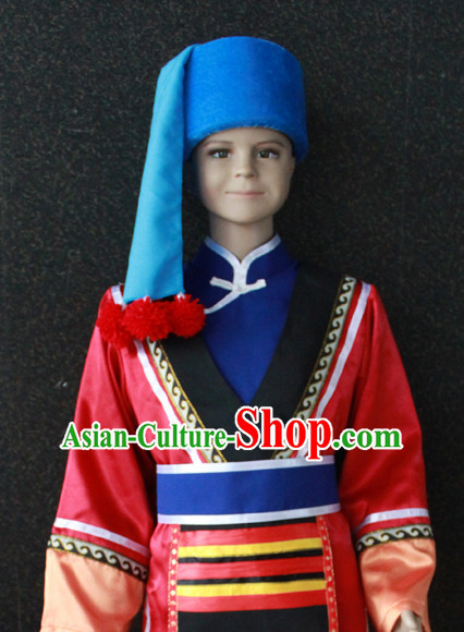 Chinese Nationality Folk Dance Ethnic Wear China Clothing Costume Ethnic Dresses Cultural Dances Costumes Complete Set for Women Girls