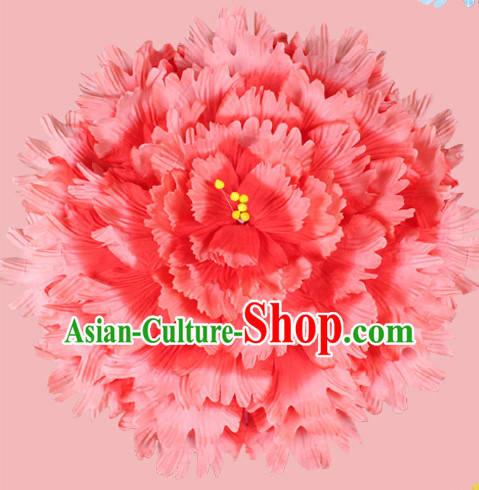 Red Traditional Dance Peony Umbrella Props Flower Umbrellas Dancing Prop Decorations for Kids Children Girls Boys