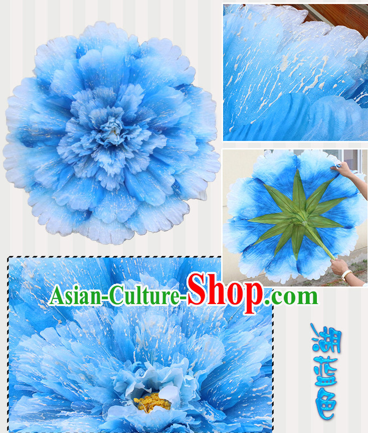 Light Blue Traditional Dance Props Flower Umbrella Dancing Prop Decorations for Men Women Adults