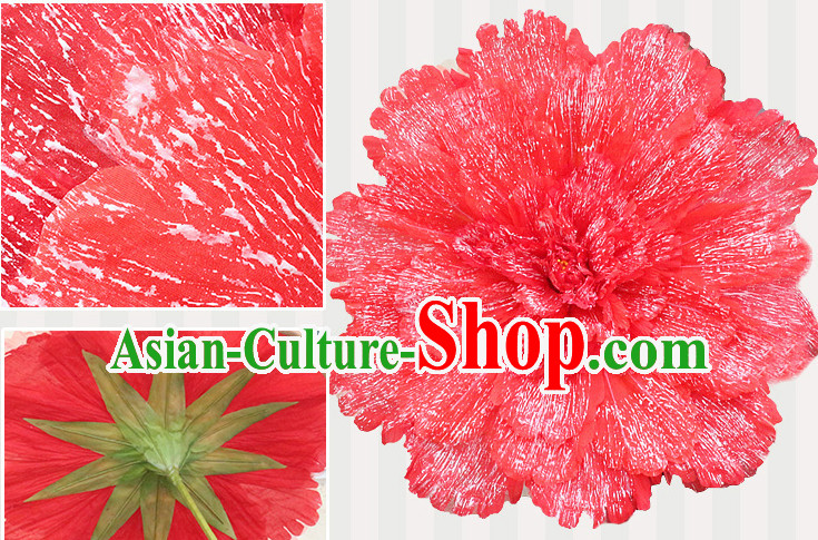 Red Traditional Dance Props Flower Umbrella Dancing Prop Decorations for Men Women Adults
