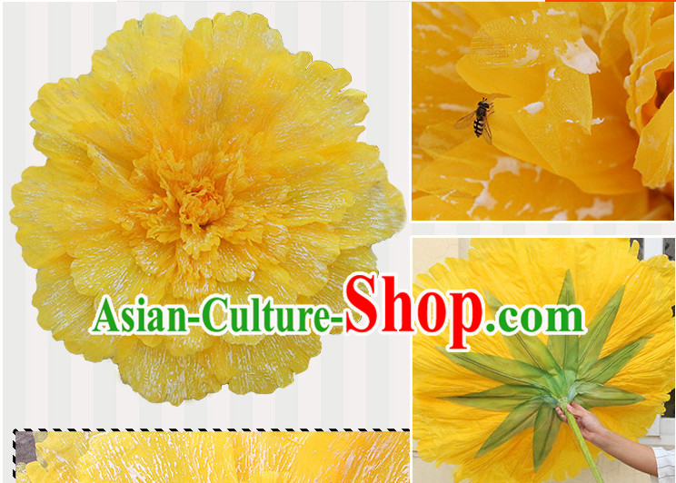 Yellow Traditional Dance Props Flower Umbrella Dancing Prop Decorations for Men Women Adults