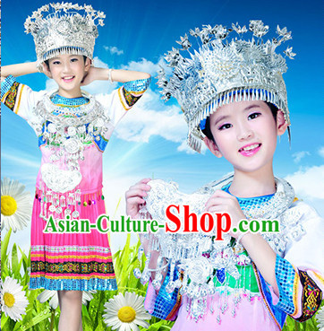 Chinese Hmong Folk Dance Ethnic Wear China Clothing Costume Ethnic Dresses Cultural Dances Costumes Complete Set for Children