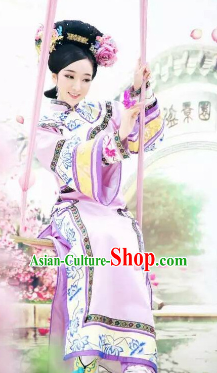 Qing Dynasty Chinese Embroidered Empress Robe and Headwear Complete Set for Women