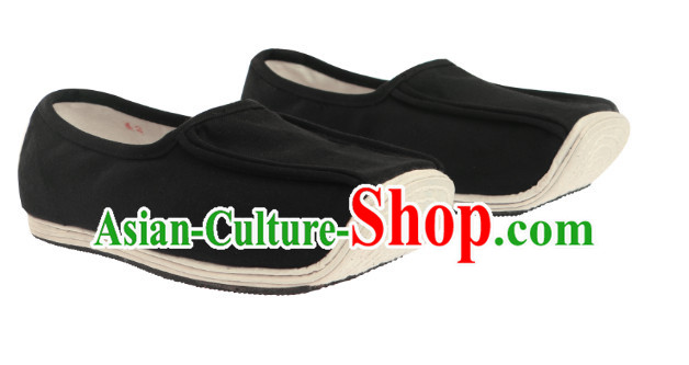 Chinese Traditional Black Handmade Fabric Shoes for Men