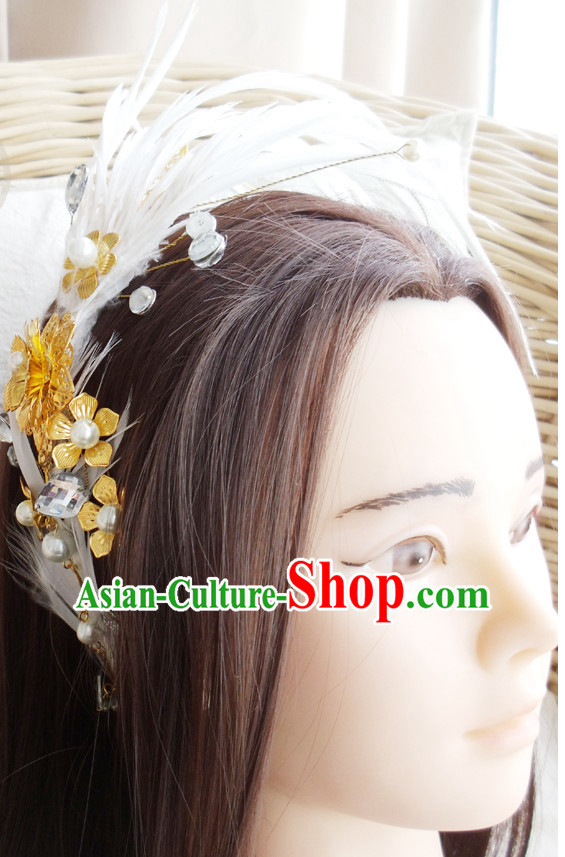 Chinese Ancient Style Handmade Feather Fairy Hair Jewelry Set
