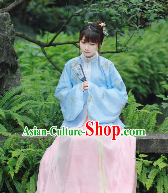 Traditional Chinese Ming Dynasty Noblewoman Clothing Blouse Skirt and Hair Jewelry Complete Set for Women