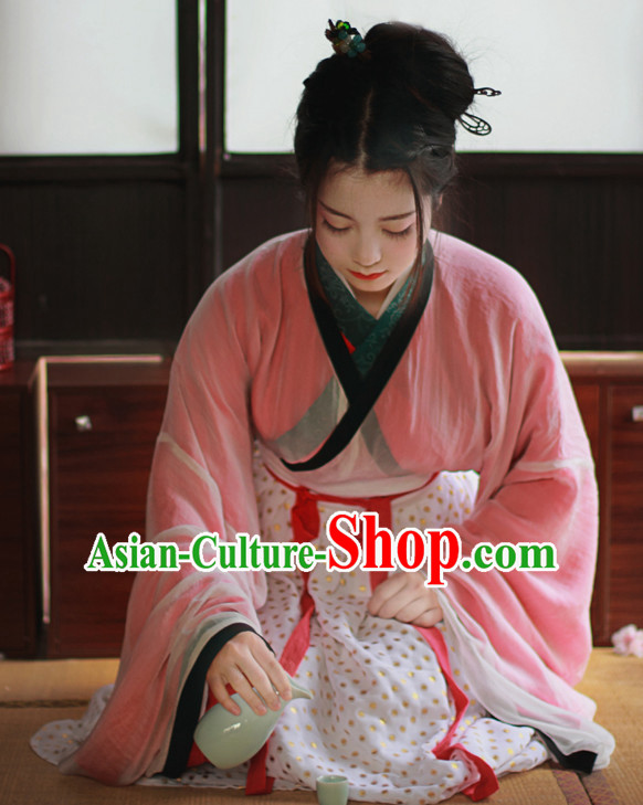 Traditional Chinese Han Dynasty Garment Blouse Skirt and Hair Jewelry Complete Set for Women