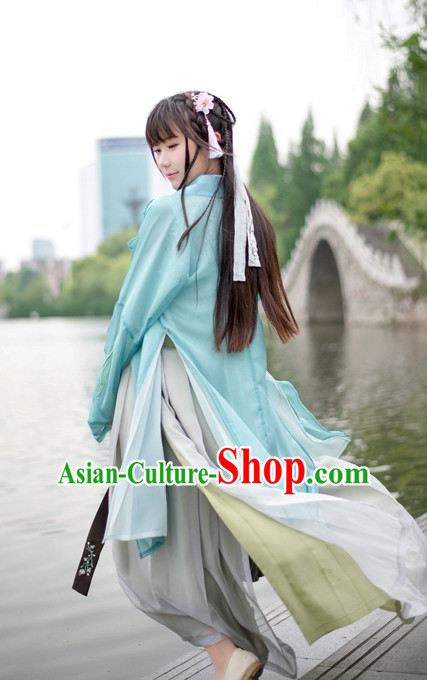 Traditional Chinese Ancient Dynasty Hanfu Suits Clothes Dresses Skirt and Hair Jewelry Complete Set for Women