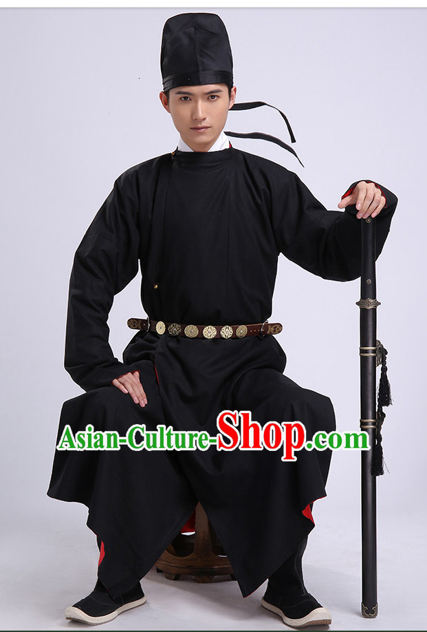 Traditional Chinese Ancient Tang Dynasty Clothing and Hat Complete Set for Men