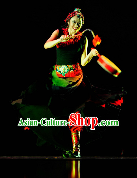 Chinese Ethnic Dance Costume Folk Dancing Costumes Traditional Chinese Dance Costumes Asian Dance Costumes Complete Set for Women
