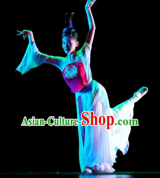 Chinese Classical Dance Costume Folk Dancing Costumes Traditional Chinese Dance Costumes Asian Dancewear Complete Set for Women Girls