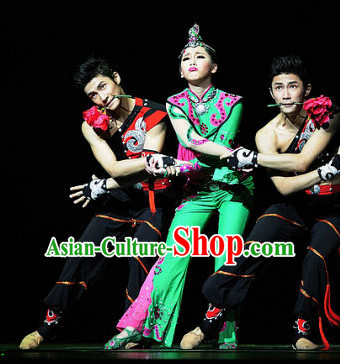Chinese Ethnic Dance Costume Folk Dancing Costumes Traditional Chinese Dance Costumes Asian Dancewear Complete Set for Women Girls