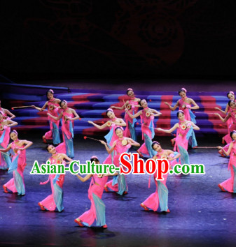 Chinese Classical Drum Dance Costume Folk Dancing Costumes Traditional Chinese Dance Costumes Asian Dancewear Complete Set for School Girls