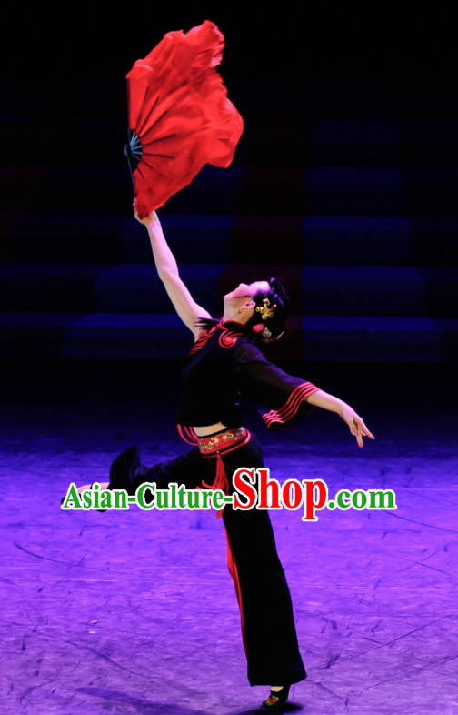 Red Pure Silk Professional Competition Dance Fans Dancing Fan