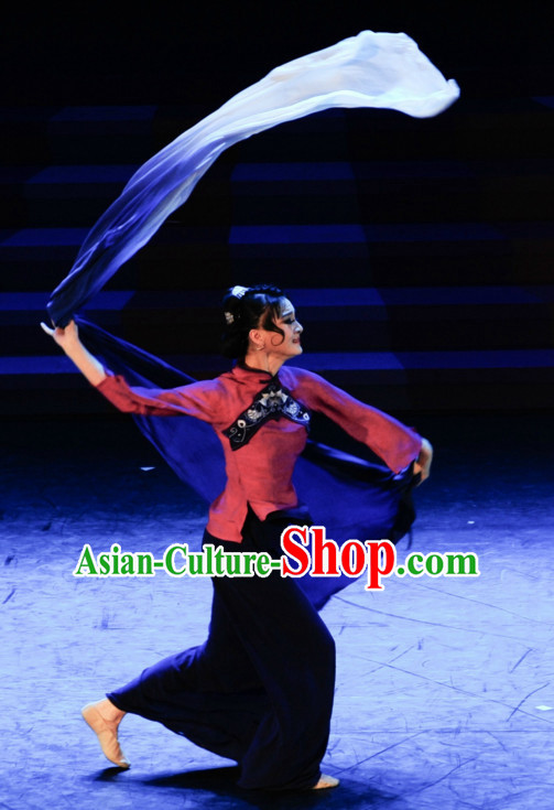 Chinese Classical Ribbon Dance Costume Folk Dancing Costumes Traditional Chinese Dance Costumes Asian Dancewear Complete Set for Girls