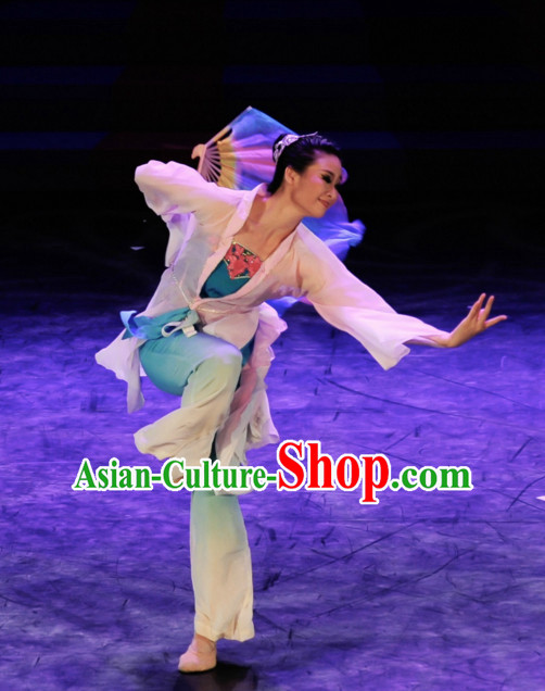 Chinese Classical Fan Dance Costume Folk Dancing Costumes Traditional Chinese Dance Costumes Asian Dancewear Complete Set for Girls