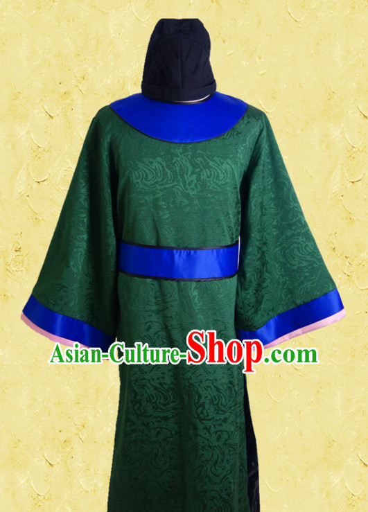 Green Ancient Chinese Style Tang Dynasty Official Costumes Clothing and Hat for Men