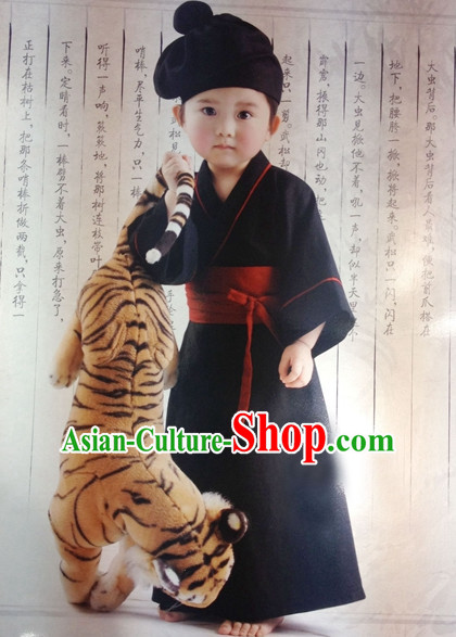 Ancient Chinese Style Wu Song Superhero Costumes Clothing and Hat for Kids