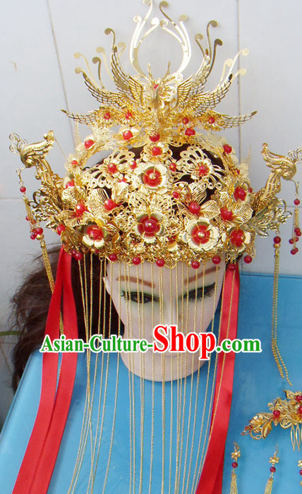 Gold Chinese Ancient Style Empress Princess Hair Jewelry Phoenix Headwear Set