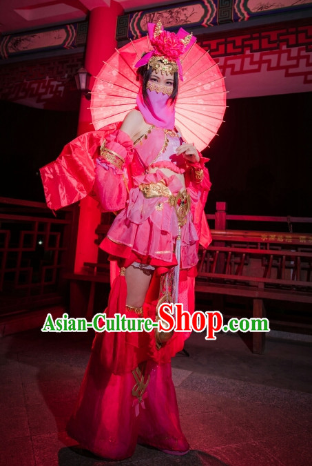 Ancient Chinese Style Cosplay Costumes and Hair Jewelry Complete Set for Women Girls
