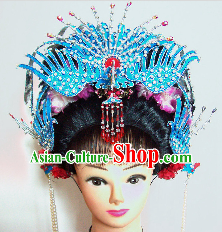 Top Traditional Chinese Opera Black Wigs and Phoenix Hair Accessories Props for Adults and Children