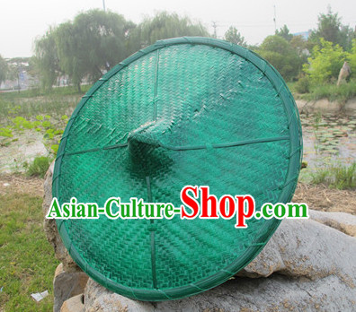 Green Traditional Chinese Dance Bamboo Hat for Adults and Children