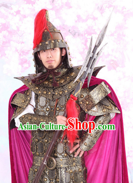 Chinese Traditional Body Armor Dress Hanfu Costume China Kimono Robe Ancient Chinese Clothing National Costumes Gown Wear and Head Jewelry for Men
