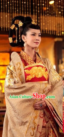 Chinese Traditional Empress Dress Hanfu Costume China Kimono Robe Ancient Chinese Clothing National Costumes Gown Wear and Headwear Complete Set for Women