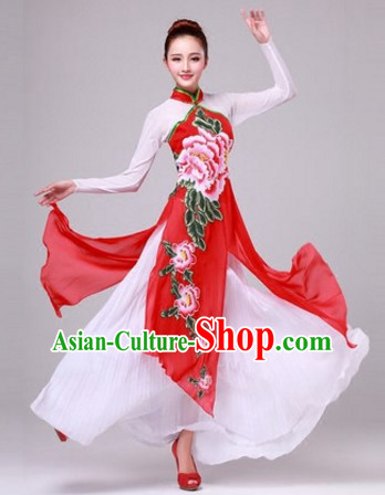 Chinese Classical Dance Costumes Traditional Chinese Clothing Dress Dancewear Dance Clothes Outfits Dresses and Hat Complete Set for Women