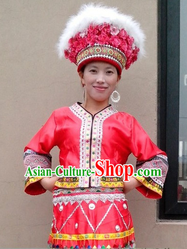 Chinese Folk Dance Ethnic Dresses Traditional Wear Clothing Cultural Dancing Costume Complete Set for Women