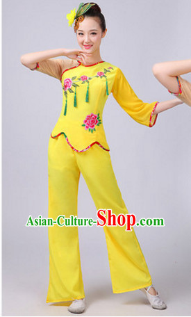 Chinese Theater Traditional Dance Ribbon Dancing Long Sleeve Leotard China Fan Dance Costume Complete Set for Women Girls