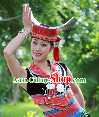 Chinese Zhuang People Folk Dance Ethnic Dresses Traditional Wear Clothing Cultural Dancing Costume Complete Sets for Women
