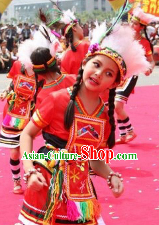 Chinese Gaoshan People Folk Dance Ethnic Dresses Traditional Wear Clothing Cultural Dancing Costume Complete Sets for Women