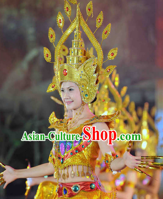 Traditional Thailand National Dance Costumes and Hat Complete Set for Women