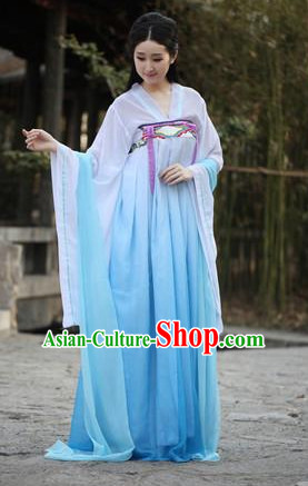 Ancient Chinese Tang Dynasty Style White Blue Gradient Skirt Clothing Complete Set for Women