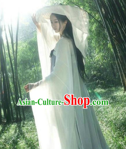 Ancient Chinese Tang Dynasty Style Skirt Clothing and Concial Straw Hat Complete Set for Women