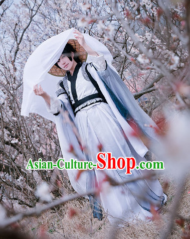 Ancient Chinese Jianghu Swordman Costume Clothing and Straw Hat Complete Set for Women or Men